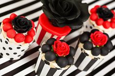 Black and white and red cupcakes - http://www.victorias-kitchen.com