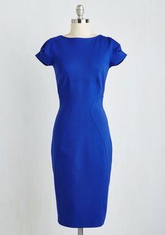 Sleek Highly of You Dress. From your lexicon to your look in this sapphire dress by Closet, youre one admirable creative. #blue #modcloth