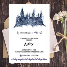 Digital Harry Potter Bridal Shower Invitation - Muggle to Mrs - Bridal Shower - Wedding Shower - Harry Potter Theme by CoupeDePapier on Etsy https://www.etsy.com/listing/527632252/digital-harry-potter-bridal-shower