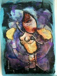 Stripping (Peinture),  30x35 cm par Doudoudidon Doudoudidon - Loïc Tarin peinture sur film radio médical de récupération art singulier