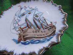 Norway norsk norge  wall plate Navy  gold plated gilded Home Decor