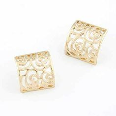 Square Rose Stud Earrings via LAU ACCESSOIRES. Click on the image to see more!