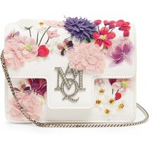 Alexander McQueen Insignia embellished leather shoulder bag ($1,843) ❤ liked on Polyvore featuring bags, handbags, shoulder bags, purses, shoulder handbags, white handbags, white leather purse, shoulder strap bags and summer shoulder bags
