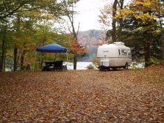 Old Forge, NY-Tent camping at Nicks Lake Campground in the Adirondacks