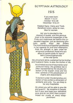 Zodiac Unlimited Egyptian astrology postcard: Isis