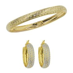 Gold- and Silver-Tone Hoop Earrings and Bangle Set
