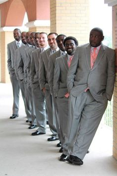 https://www.facebook.com/pages/Angel-Eyes-Photography/296530873731572?ref=hl groomsmen pose grey and coral wedding