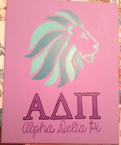 The ADPI canvas that I created for my room next year at Alpha Beta! #adpi #lion #ΑΔΠ #universityofiowa