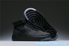 timeless design 54f45 632b0 2017 Discount Nike Air Force 1 Flyknit Girls High Tops Shoes Black Gray Air  Force Ones