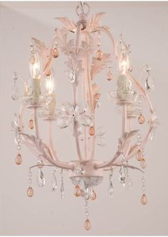 Stella Antique Pink Chandelier...I know a sweet little girl whose room would look really pretty with this hanging from her ceiling!