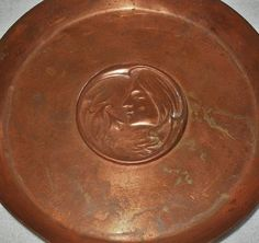 small ART NOUVEAU Copper DISH HandCrafted REPOUSSE LADY Flowers SPECIAL TREASURE