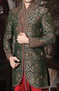green, gold, and red sherwani Wedding Dresses Men Indian, Wedding Dress Men, Wedding Men, Wedding Suits, Indian Weddings, Wedding Attire, Indian Dresses, Trendy Wedding, Wedding Ideas