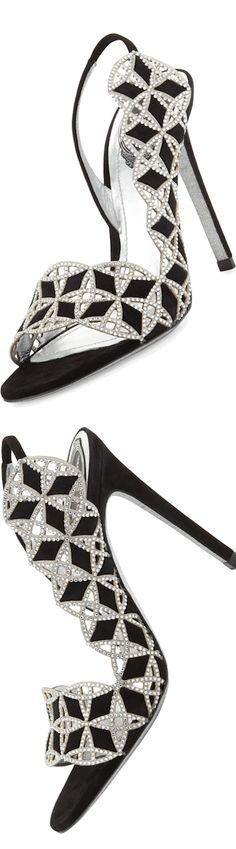 Rene Caovilla ~ Black Leather and Rhinestone Stiletto Sandal
