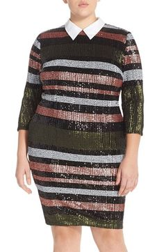 ELOQUII Sequin Stripe Dress (Plus Size) available at #Nordstrom