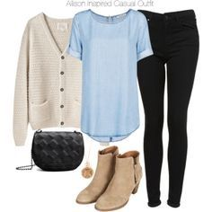 Pale blue shirt with a sweater cardigan black skinny jeans and brown ankle boots