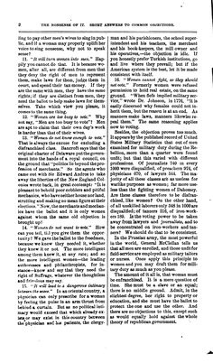 This pamphlet, entered in the Records of the House of Representatives in 1866, runs through often-heard objections to women's suffrage, striking down each. page 2