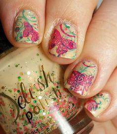 Delush-Polish-Fleur-de-Peche-double-stamping-nail-art-butterflies
