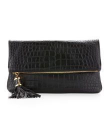 Must Have Bags Srping 2013:   Michael Kors Large Tonne Crocodile Embossed Fold-Over Clutch Bag