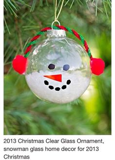 Lovely DIY Ornaments For Kids Christmas Decoration : Cool Christmas Snowman Ornament Craft Made with Clear Glass Ball for Christmas Tree to . Preschool Christmas, Diy Christmas Tree, Christmas Crafts For Kids, Christmas Snowman, Simple Christmas, Holiday Crafts, Christmas Holidays, Christmas Ideas, Silver Christmas