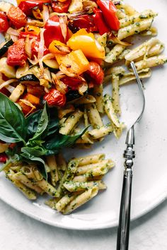 Hemp Seed + Flax Oil Basil Pesto with Penne & Roasted Vegetables | Faring Well