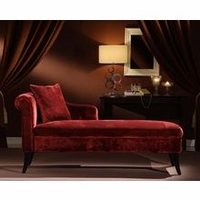 i like the drapery separating the rooms   Armen Living - Patterson Maroon Chenille Chaise  - LCMCH009FAMA