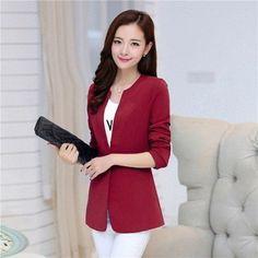 b96fb2d5bd8 2018 Spring Women Blazer 6 Colors Coat Elegant Suit Jacket Outwear Long Jackets  Blazers Coat Feminino