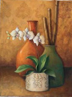 Posterazzi Modern Orchid II Canvas Art - 3 Bamboo Studio x Cuban Art, Mexican Art, Still Life Oil Painting, Still Life Art, Fruit Art, Painted Paper, Flower Art, Watercolor Paintings, Fine Art Prints