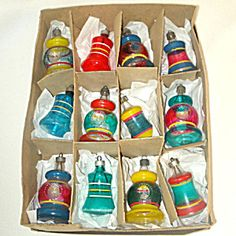 Box Premier 1940s War Era Unsilvered Bell Lantern Christmas Ornaments