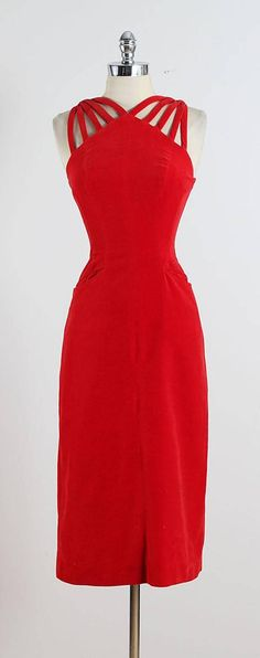 Vintage 1950s Mindy Ross Red Velvet Cocktail Dress