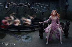 Campaign: Alexander McQueen Season: Fall 2002 Photographer: Steven Klein Model(s): Tatiana Urina