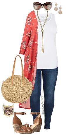 Plus Size Summer Kimono Outfit - Plus Size Fashion - Mode Mode Outfits, Casual Outfits, Fashion Outfits, Fashion Ideas, Fashion Clothes, Fashion Images, Fashion Pants, Fashion Jewelry, Fashion Tips