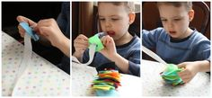 fine motor skills are strengthened with a simple homemade button snake