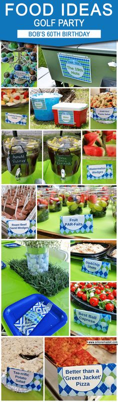 Golf Party Food Ideas for Birthday Golf Par-Tees! Find more golf ideas, quotes, tips, and lessons at Party Food Labels, Party Drinks, 60th Birthday Party, Birthday Invitations, Surprise Birthday, Birthday Ideas, Birthday Cakes, 50th Party, 50th Birthday Themes