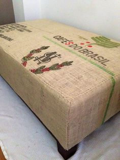 Restored coffee bag hessian ottoman.. Industrial..