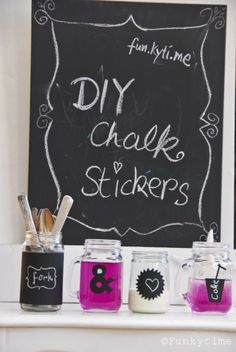 DIY chalk board stickers - love this idea but have never seen chalkboard stickers at the dollar store :(