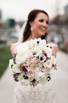 Winter wedding bouquet idea- white + pink bouquet with dahlias, peonies, roses, anemones, calla lilies, scabiosas, and jasmine  {Nyk + Cali, Wedding Photographers}