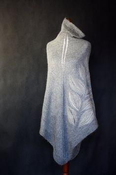 Gray poncho women poncho knit poncho knit by KnitwearFactory