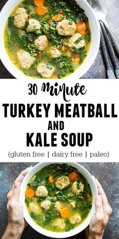 Get a wholesome and satisfying meal on the table in just 30 minutes with this hearty Turkey Meatball and Kale Soup. Gluten free.  Dairy free. Paleo.  Whole30 compliant. Cooking Jasmine Rice, Gluten Free Cooking, Cooking Utensils, Curry, Key, Ethnic Recipes, Food, Kitchen Appliances, Cooking Tools