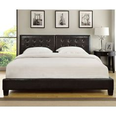 Chocolate Upholstered Button-tufted Platform Bed | Overstock.com Shopping - Great Deals on Domusindo Beds
