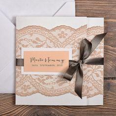 Wedding Invitation #4lovepolkadots #peach #grey #lace #burlap #pastelwedding