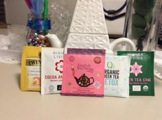 A few pretty little individually wrapped teabags and my Eiffel Tower tea pot.    via @Tess_Indi
