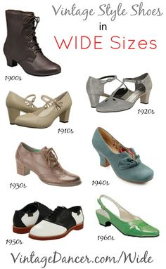Buy WIDE shoes 1920s, 1930s, 1940s, 1950s styles?