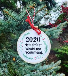 2020 is a year we would not recommend - am I right? Funny Christmas Embroidery Commemorative Ornament Funny Embroidery, Christmas Embroidery, Funny Christmas, Christmas Ornaments, Holiday Decor, Unique Jewelry, Handmade Gifts, Etsy, Kid Craft Gifts