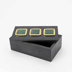 Made of smooth soapstone and agate, these gleaming jewelry boxes crafted in collaboration with designer Eduardo Garza are fitted with a slab of green agate in a brass-finished frame. Modern Jewelry Box, Girls Jewelry Box, Jewelry Storage Solutions, Jewellery Storage, Green Agate, Soapstone, Wood Boxes, Color Pop, Decorative Boxes
