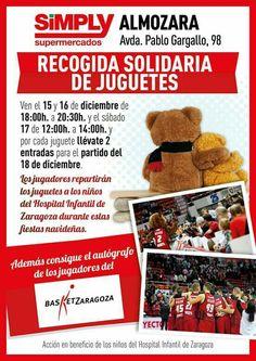 El Basket Zaragoza participa en numerosas causas benéficas a lo largo del año. Una de las más conocidas es su recogida solidaria de juguetes en Navidad. Por cada juguete que llevanban los aficionados conseguían entradas gratuitas para el próximo partido e incluso autógrafos de los jugadores.
