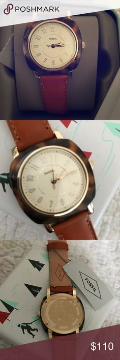 Fossil Tortoise Shell Idealist Retro Watch Beautiful retro fossil watch. Goes with everything! NWT Fossil Accessories Watches