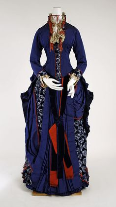 Dress  Darlington, Runk & Co.  (American)    Date:      1880–85  Culture:      American  Medium:      silk  Dimensions:      Length at CB (a): 26 1/2 in. (67.3 cm) Length at CB (b): 41 in. (104.1 cm) Length at CB (c): 38 in. (96.5 cm) Length at CB (d): 66 in. (167.6 cm)  Credit Line:      Gift of Mr. Houghton Trott, 1995  Accession Number:      1995.463.2a–d    This artwork is not on display
