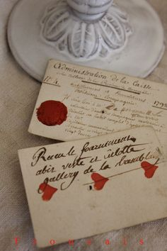 "an 18th century French Count scrawls his obligations from a losing hand on some playing cards -  ""lucky at cards, unlucky in love"" - via Trouvais"