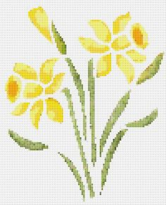 Yellow Daffodils Flowers Counted Cross Stitch Pattern Flower Wall Art PDF Chart