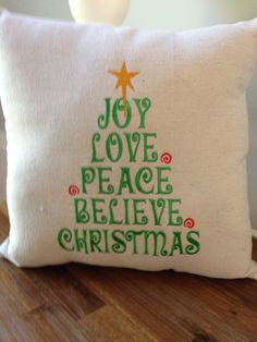 Embroidered Christmas Tree Pillow by Embroiderystiches on Etsy